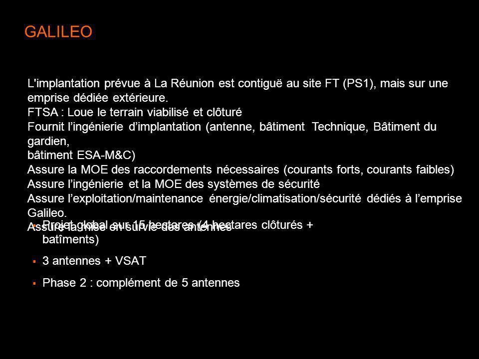 GALILEO L implantation prévue à La Réunion est contiguë au site FT (PS1), mais sur une emprise dédiée extérieure.