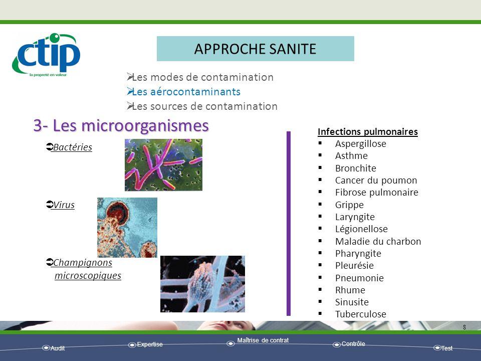 3- Les microorganismes APPROCHE SANITE Les modes de contamination