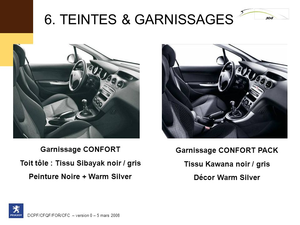 6. TEINTES & GARNISSAGES Garnissage CONFORT Garnissage CONFORT PACK