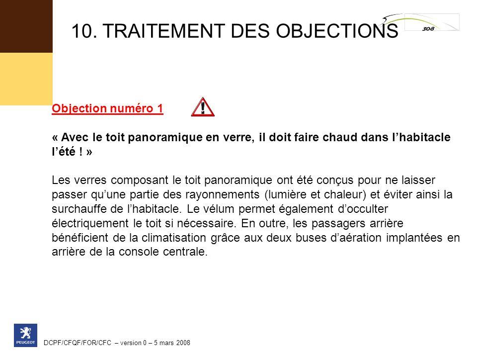 10. TRAITEMENT DES OBJECTIONS
