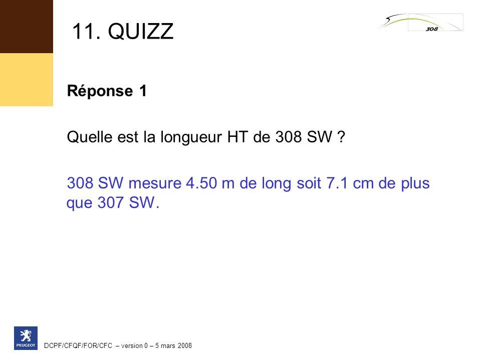 11. QUIZZ Réponse 1 Quelle est la longueur HT de 308 SW