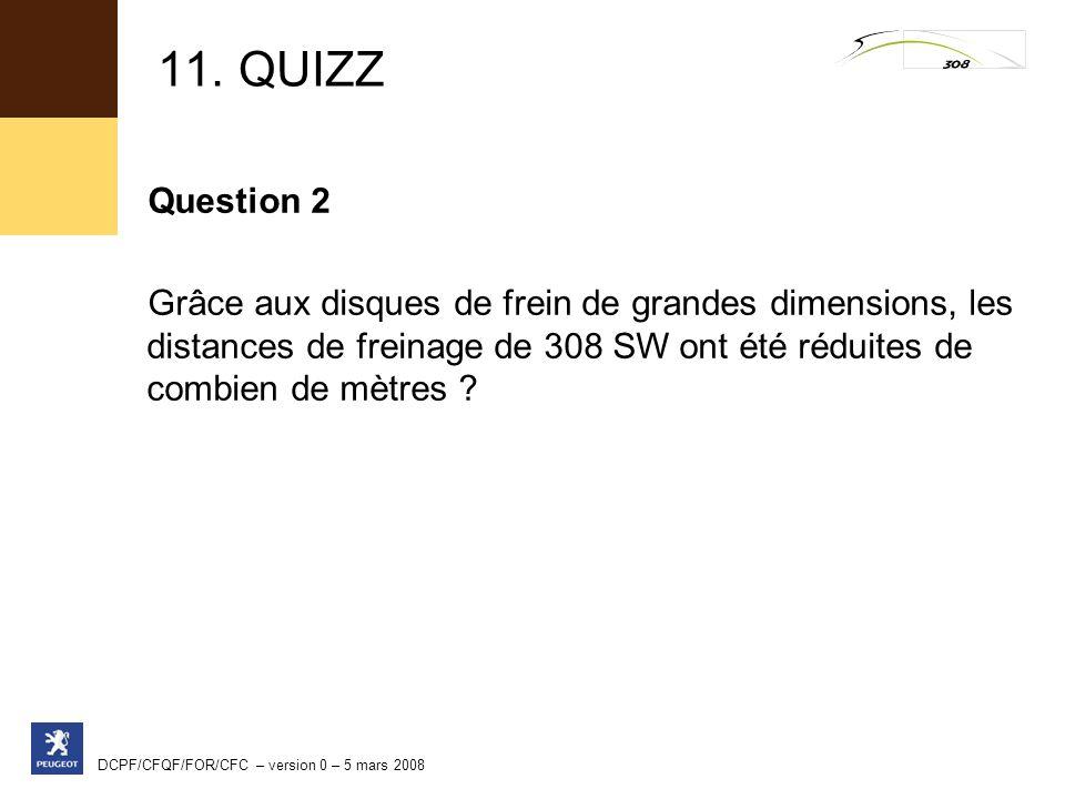 11. QUIZZ Question 2. Grâce aux disques de frein de grandes dimensions, les distances de freinage de 308 SW ont été réduites de combien de mètres