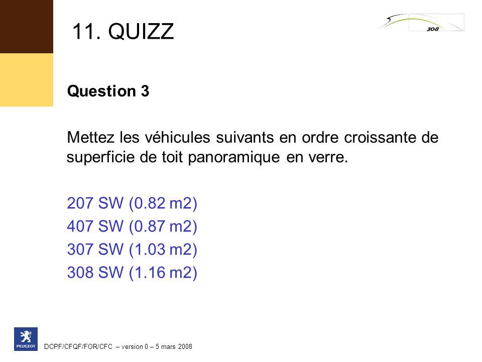 11. QUIZZ Question 3. Mettez les véhicules suivants en ordre croissante de superficie de toit panoramique en verre.