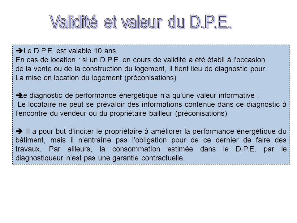 Validité et valeur du D.P.E.