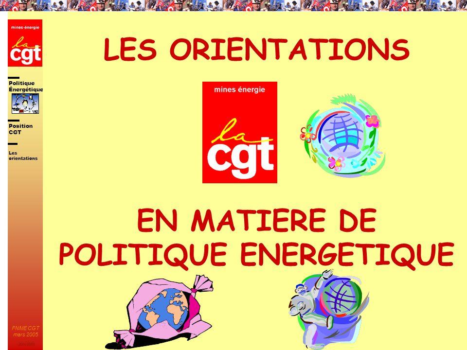 LES ORIENTATIONS EN MATIERE DE POLITIQUE ENERGETIQUE