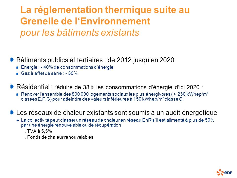 La réglementation thermique suite au Grenelle de l'Environnement pour les bâtiments existants