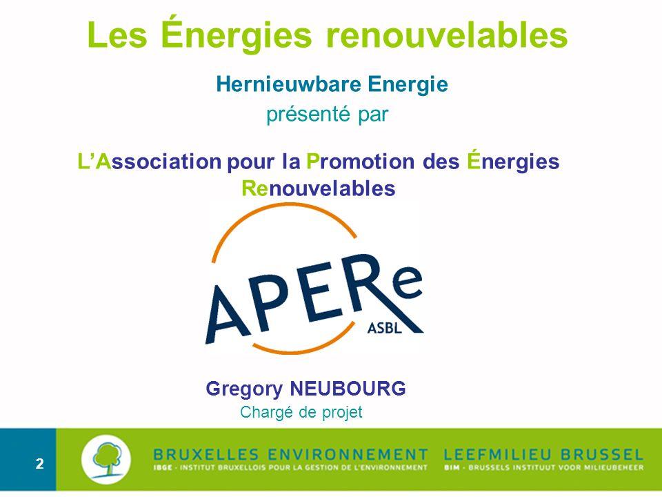 Les Énergies renouvelables Hernieuwbare Energie présenté par