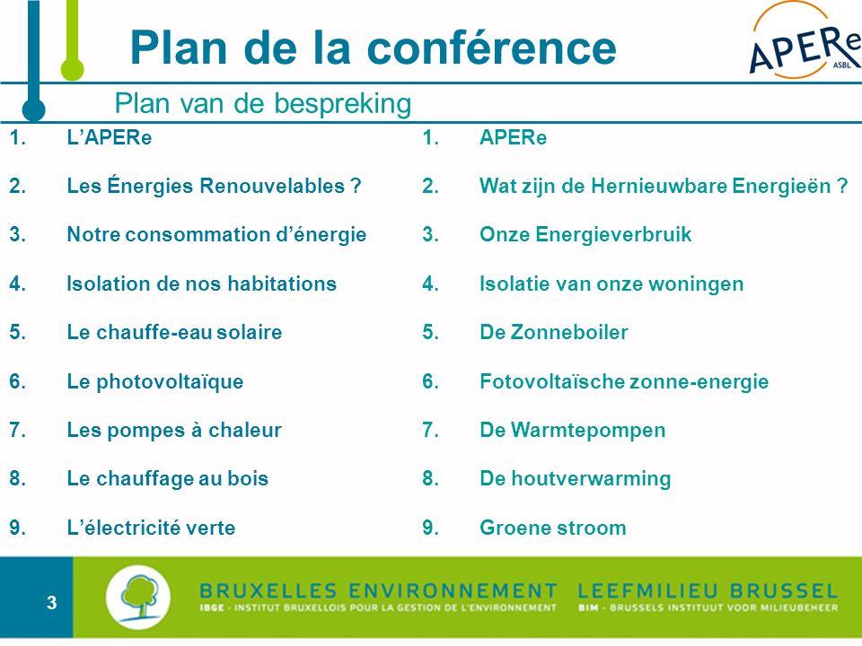 Plan de la conférence Plan van de bespreking L'APERe