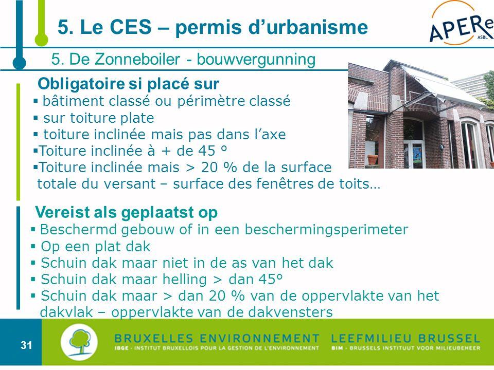 5. Le CES – permis d'urbanisme