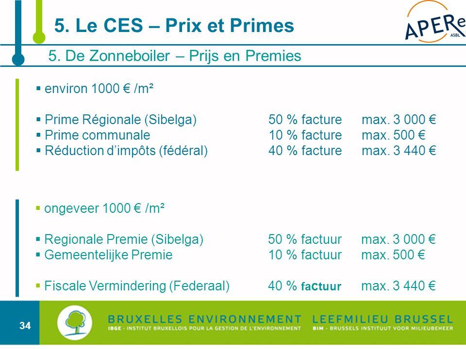 5. Le CES – Prix et Primes 5. De Zonneboiler – Prijs en Premies