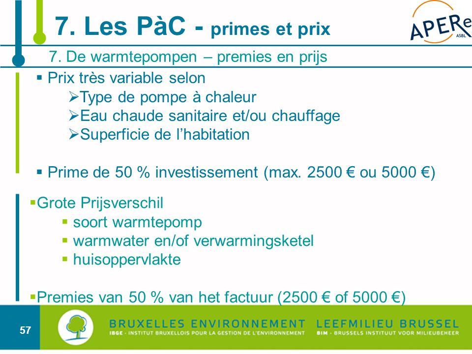 7. Les PàC - primes et prix 7. De warmtepompen – premies en prijs