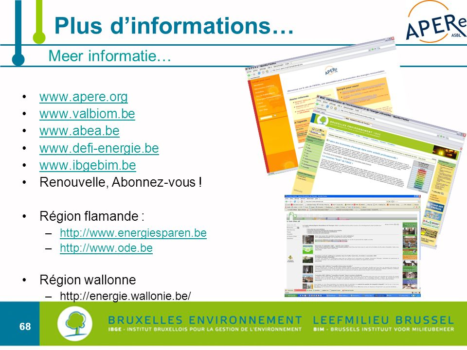Plus d'informations… Meer informatie… www.apere.org www.valbiom.be