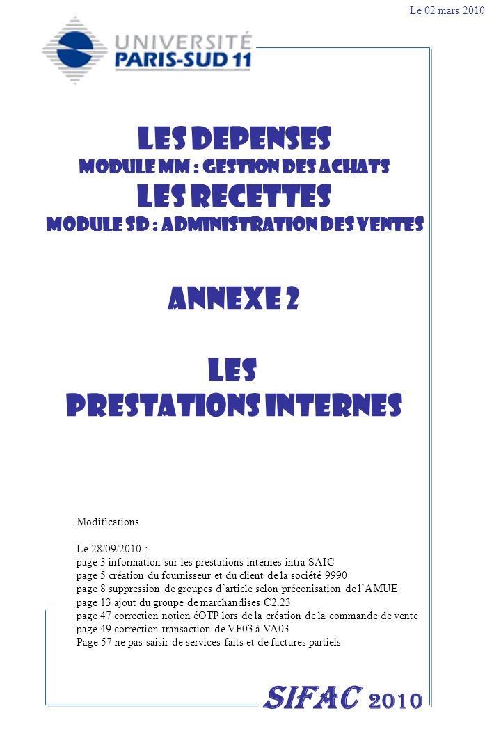 MODULE MM : GESTION DES ACHATS MODULE SD : ADMINISTRATION DES VENTES