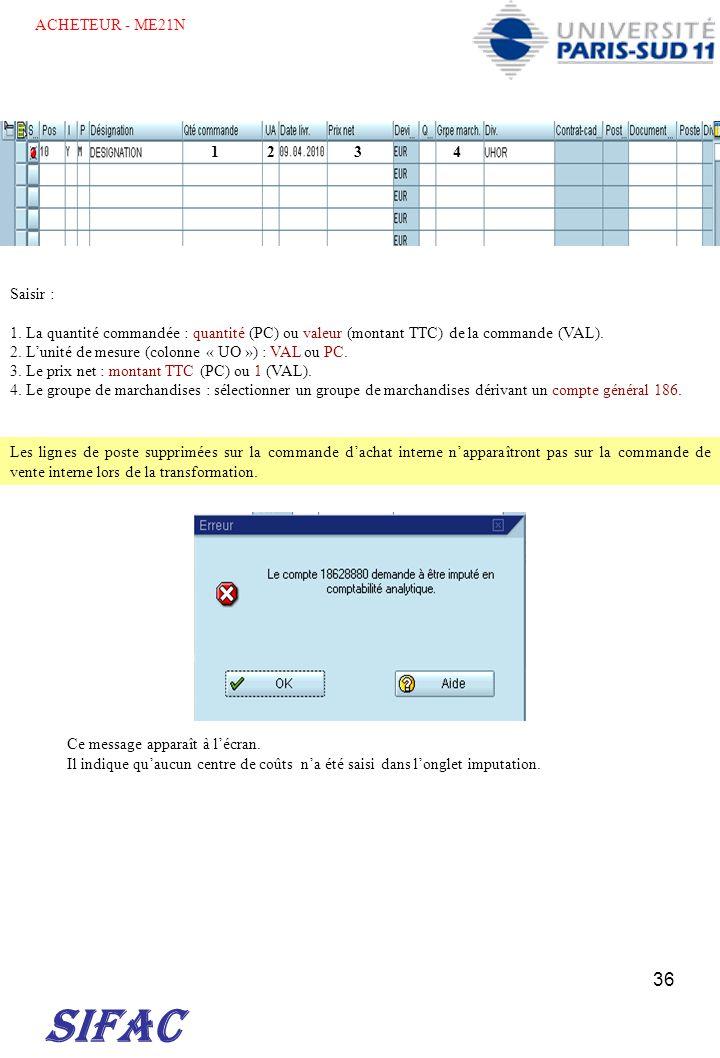 SIFAC ACHETEUR - ME21N 1 2 3 4 Saisir :