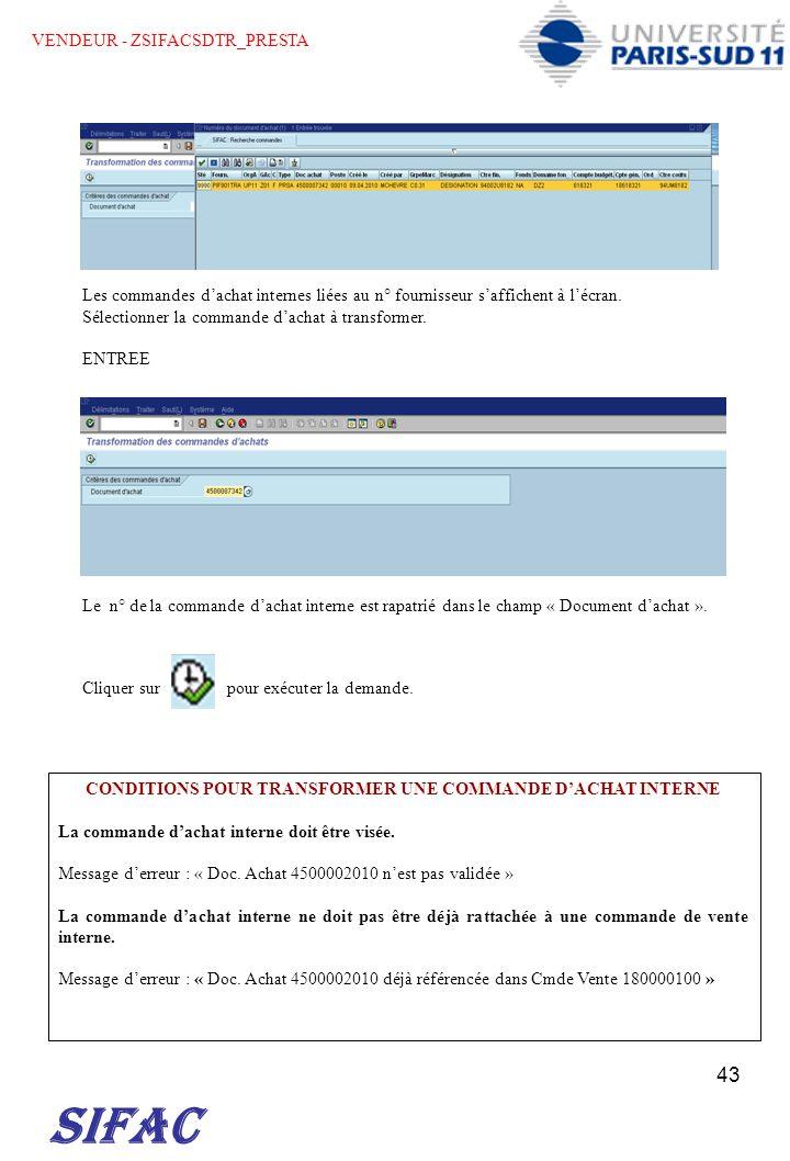 CONDITIONS POUR TRANSFORMER UNE COMMANDE D'ACHAT INTERNE