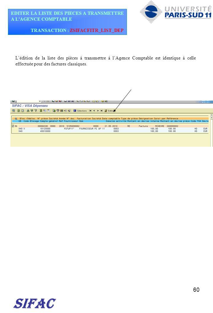 SIFAC EDITER LA LISTE DES PIECES A TRANSMETTRE A L'AGENCE COMPTABLE