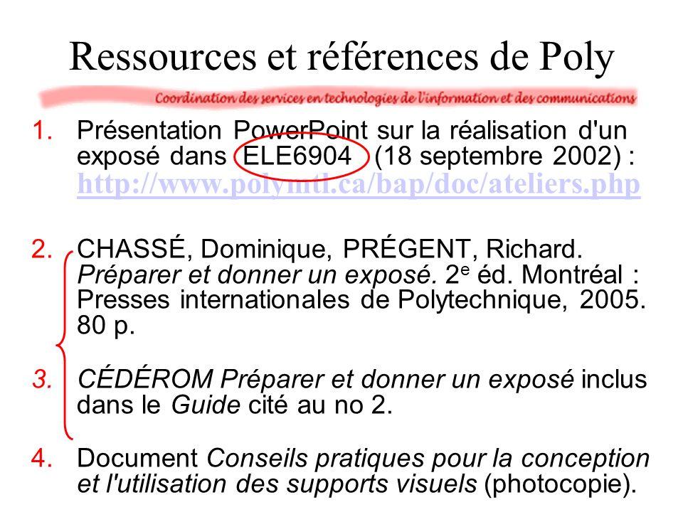 Ressources et références de Poly
