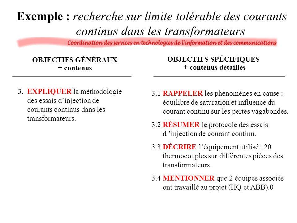 Exemple : recherche sur limite tolérable des courants continus dans les transformateurs