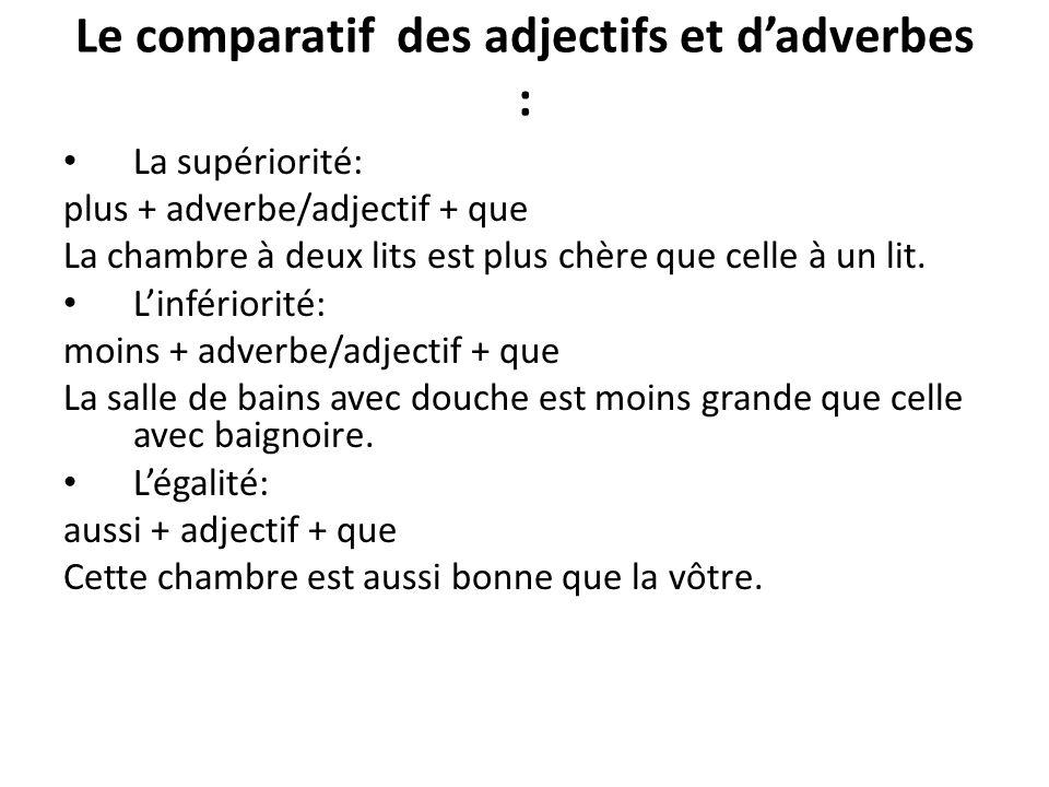 Le comparatif des adjectifs et d'adverbes :