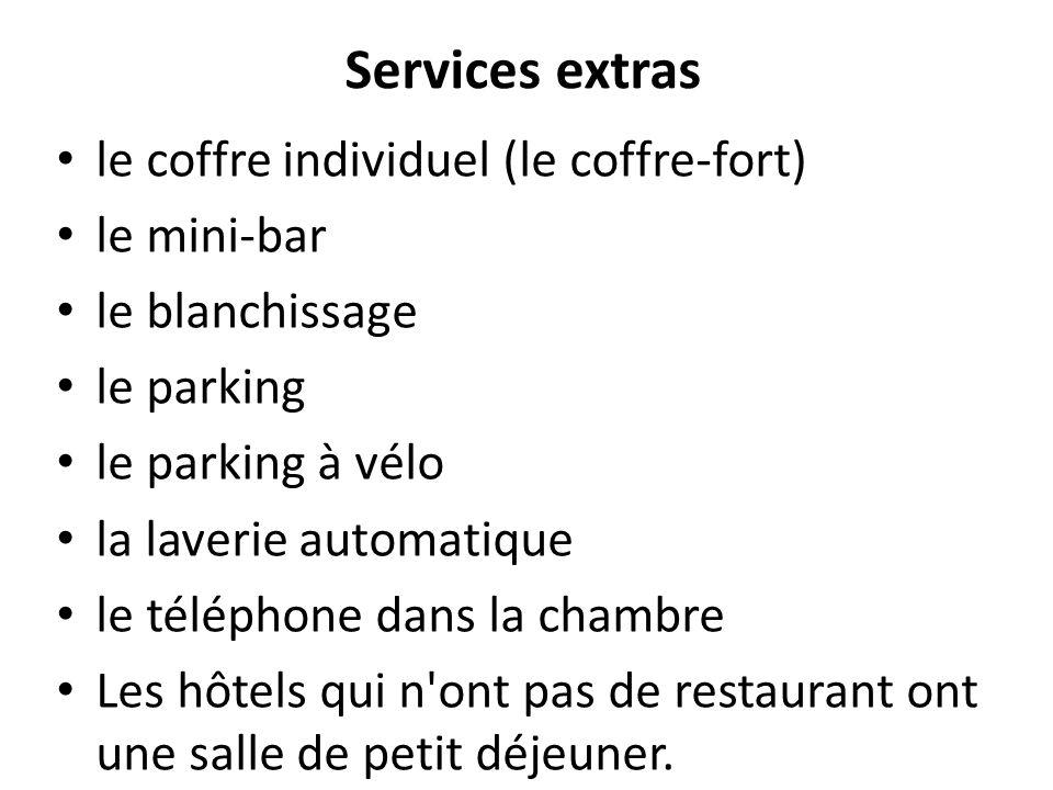 Services extras le coffre individuel (le coffre-fort) le mini-bar