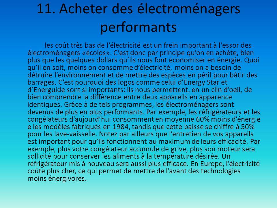 11. Acheter des électroménagers performants
