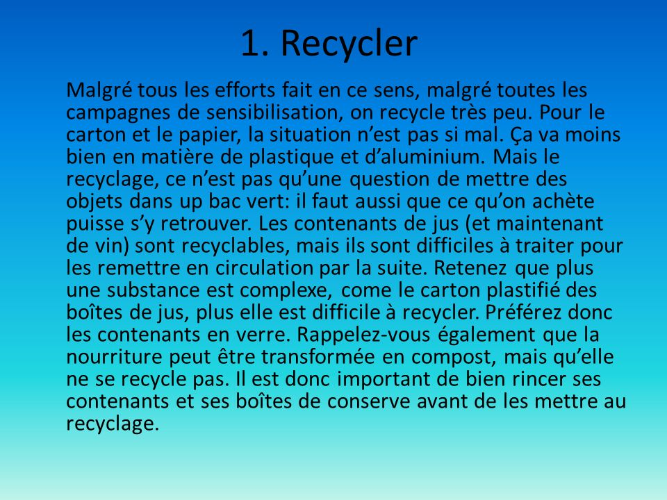 1. Recycler