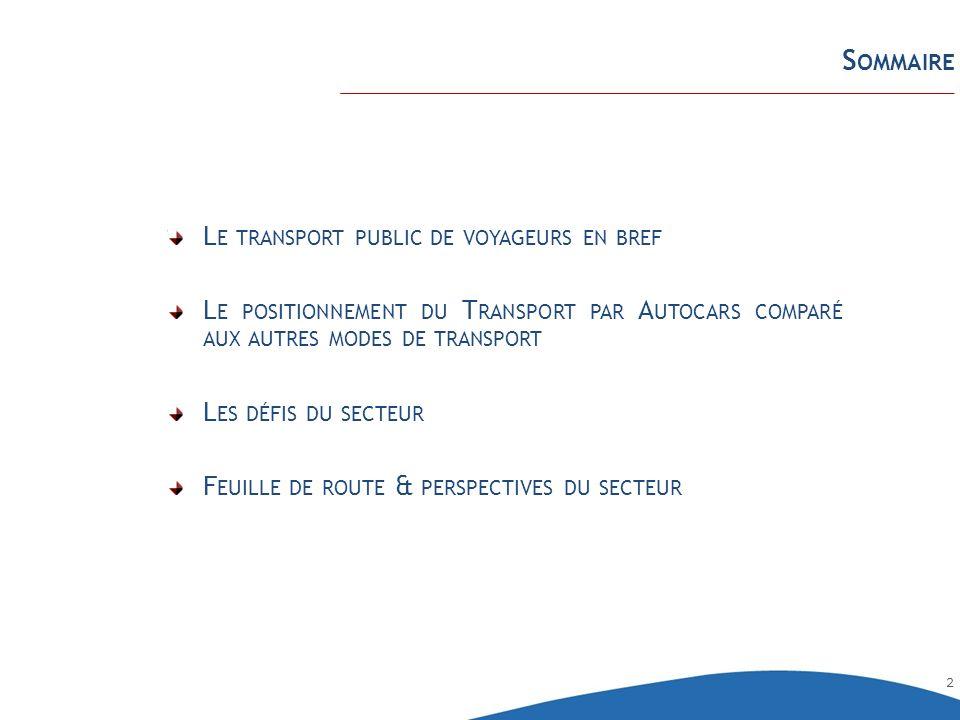 Sommaire Le transport public de voyageurs en bref