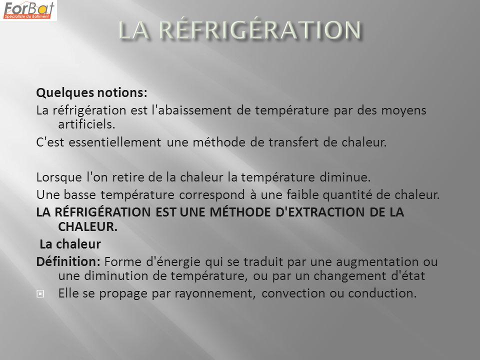 LA RÉFRIGÉRATION Quelques notions: