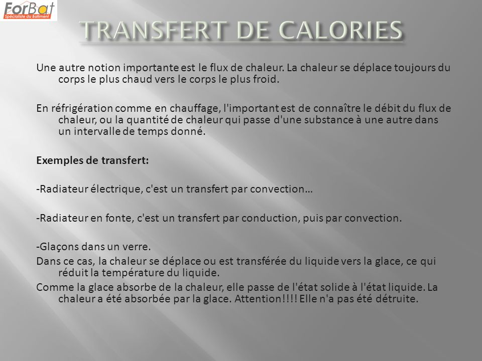 TRANSFERT DE CALORIES