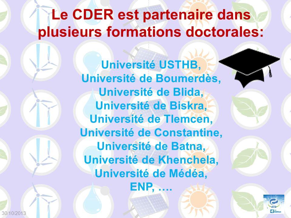 Le CDER est partenaire dans plusieurs formations doctorales: