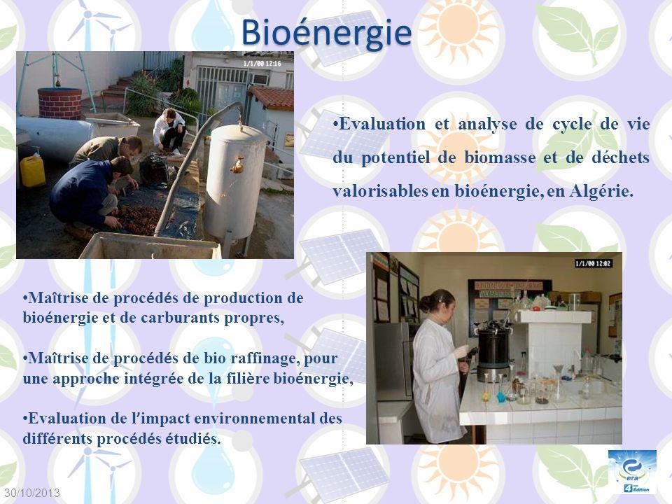 Bioénergie Evaluation et analyse de cycle de vie du potentiel de biomasse et de déchets valorisables en bioénergie, en Algérie.
