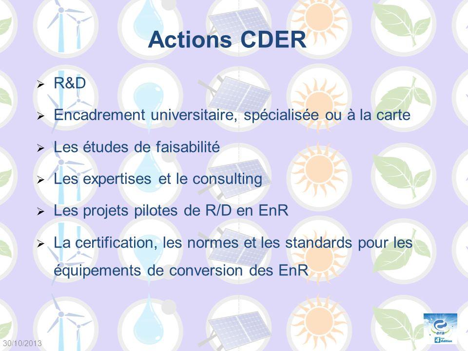 Actions CDER R&D Encadrement universitaire, spécialisée ou à la carte
