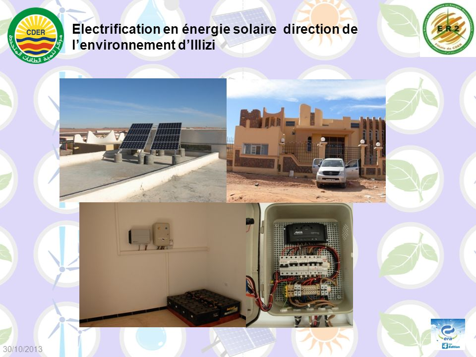 Electrification en énergie solaire direction de l'environnement d'Illizi