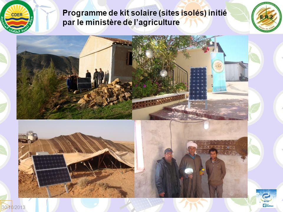 Programme de kit solaire (sites isolés) initié