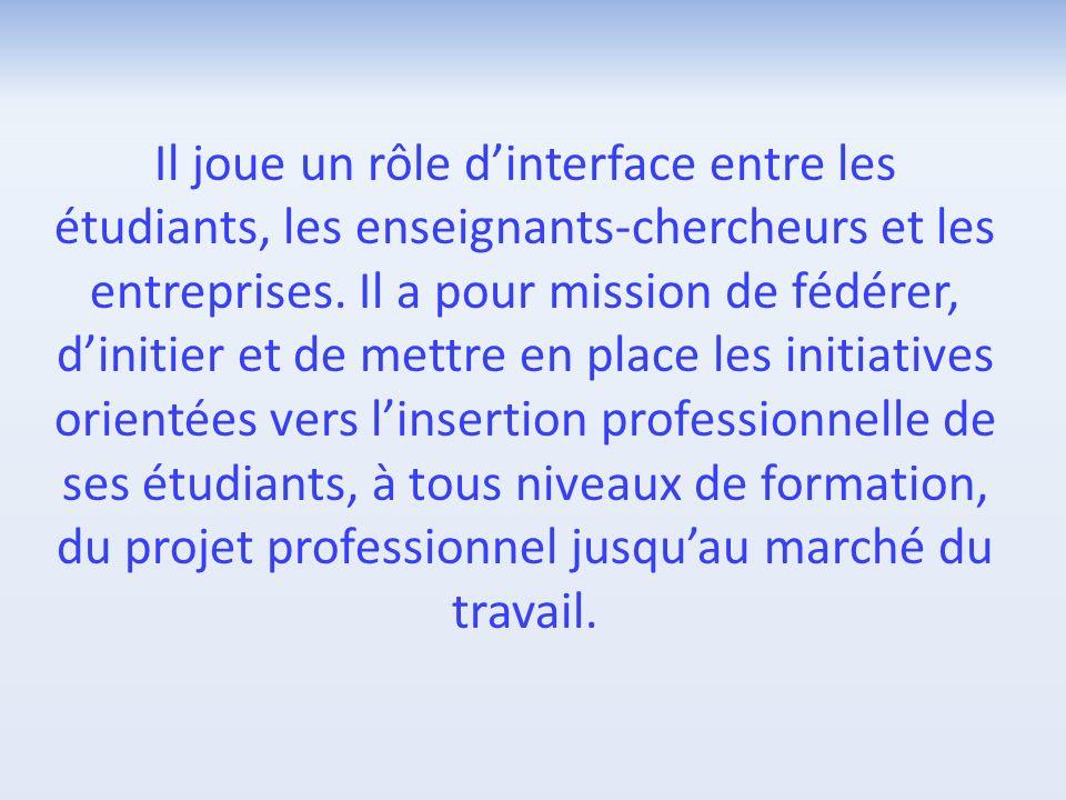 Il joue un rôle d'interface entre les étudiants, les enseignants-chercheurs et les entreprises.