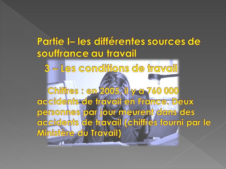 Partie I– les différentes sources de souffrance au travail 3 – Les conditions de travail Chiffres : en 2005, il y a 760 000 accidents de travail en France.