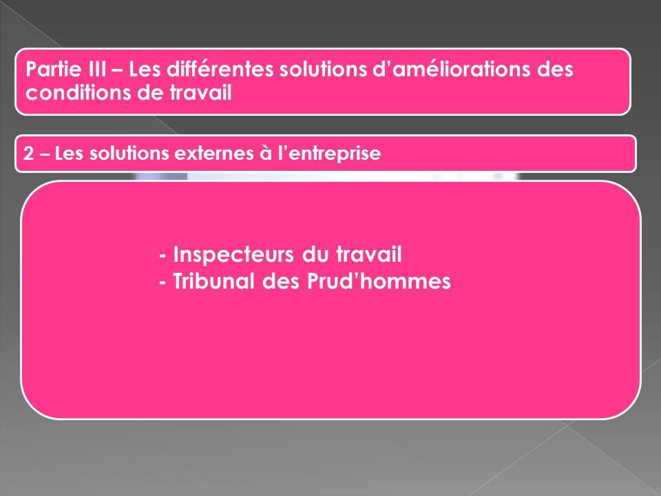 - Inspecteurs du travail - Tribunal des Prud'hommes