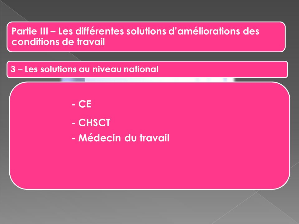 - CE - CHSCT - Médecin du travail