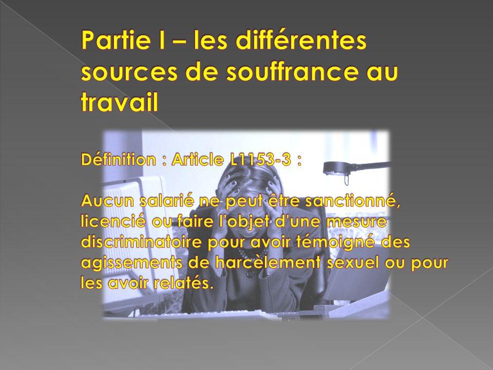 Partie I – les différentes sources de souffrance au travail Définition : Article L1153-3 : Aucun salarié ne peut être sanctionné, licencié ou faire l objet d une mesure discriminatoire pour avoir témoigné des agissements de harcèlement sexuel ou pour les avoir relatés.