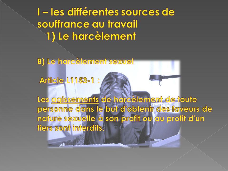 I – les différentes sources de souffrance au travail 1) Le harcèlement B) Le harcèlement sexuel Article L1153-1 : Les agissements de harcèlement de toute personne dans le but d obtenir des faveurs de nature sexuelle à son profit ou au profit d un tiers sont interdits.