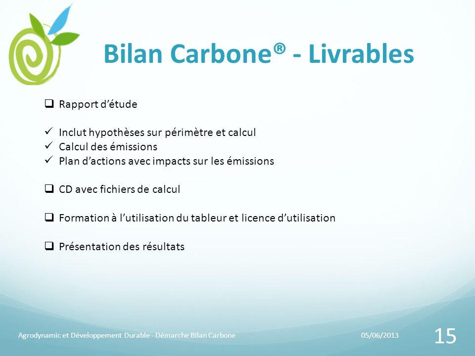 Bilan Carbone® - Livrables