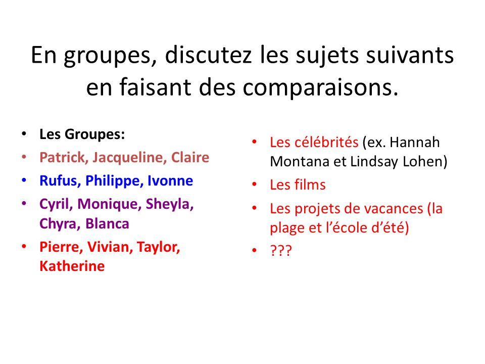 En groupes, discutez les sujets suivants en faisant des comparaisons.