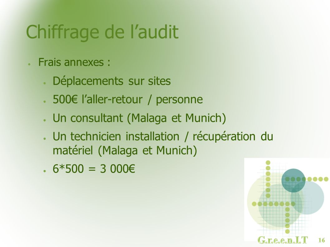 Chiffrage de l'audit Déplacements sur sites