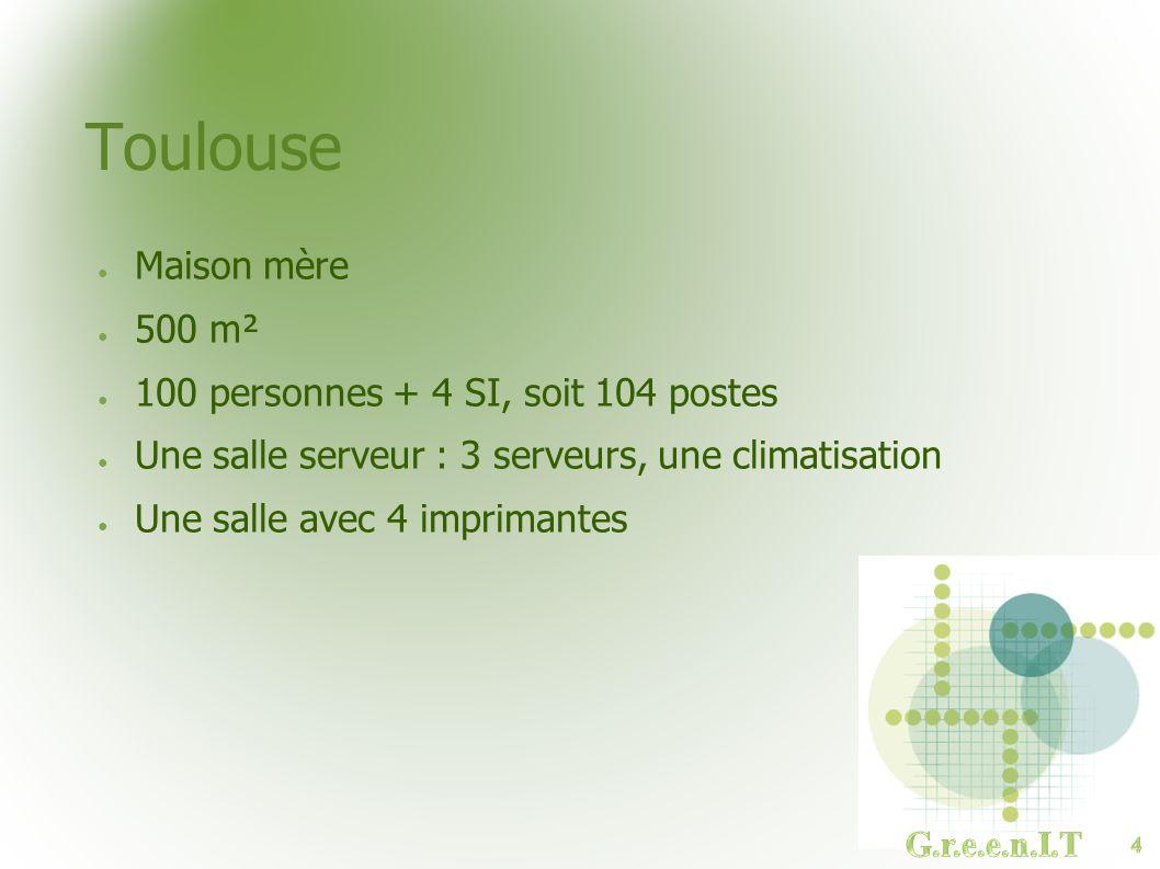 Toulouse Maison mère 500 m² 100 personnes + 4 SI, soit 104 postes
