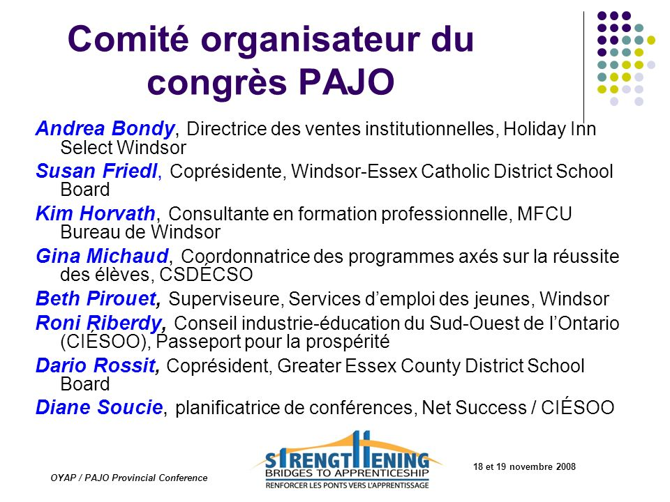 Comité organisateur du congrès PAJO