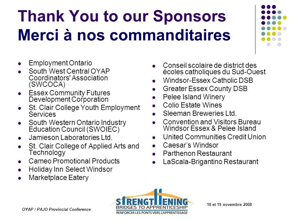 Thank You to our Sponsors Merci à nos commanditaires