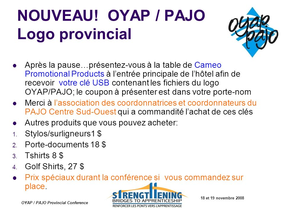 NOUVEAU! OYAP / PAJO Logo provincial