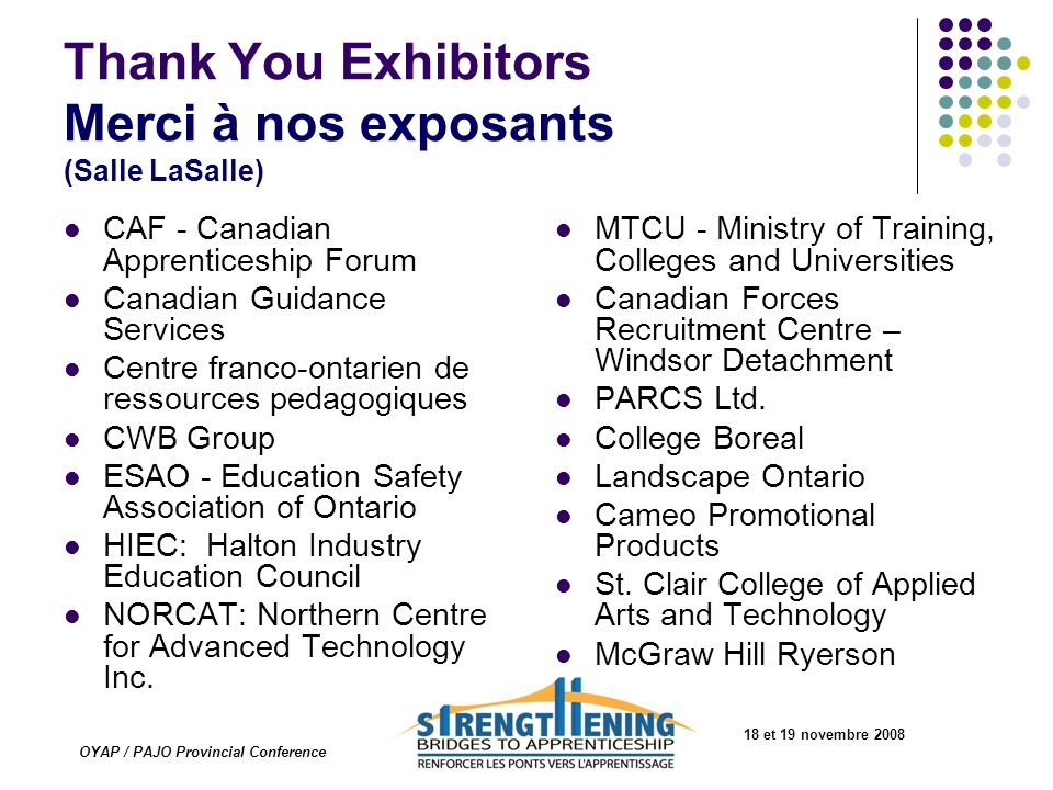 Thank You Exhibitors Merci à nos exposants (Salle LaSalle)