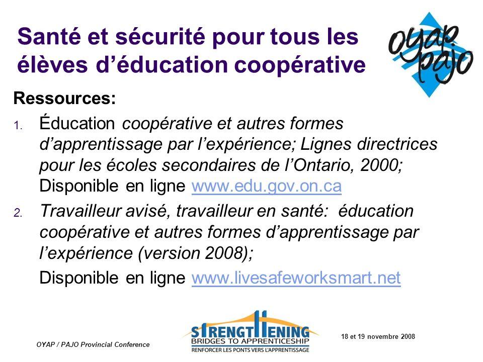 Santé et sécurité pour tous les élèves d'éducation coopérative