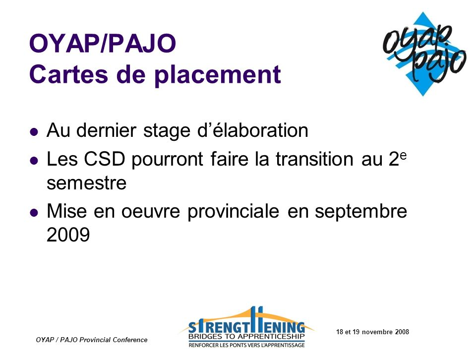 OYAP/PAJO Cartes de placement